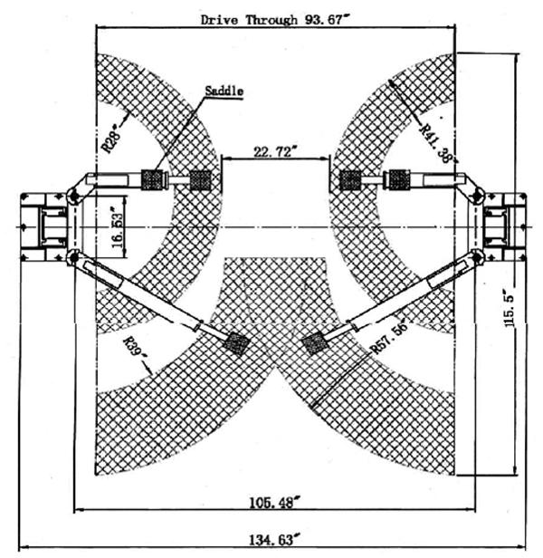 двухстоечную.  Подъемник. конструкцию с нижней синхронизацией кареток с максимальной грузоподъемностью 4000 кГ.